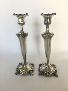Barbour Silver Co Art Nouveau Candlesticks Pair Quadruple Plate