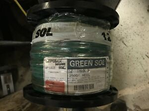 Republic Wire 12 Thhn Copper Wire Cable Green Spool 2500 Feet