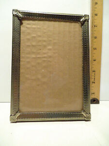 Vintage Silver Color Metal Picture Frame Holds 5 X 7 Table Stand Wall Hanger