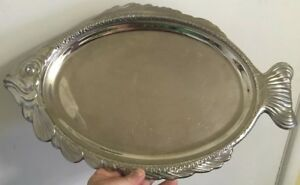 Reed Barton 18 8 Silver Tone Stainless Fish Serving Platter Tray Decor Euc