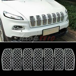 7pcs For Jeep Cherokee 2014 16 Vehicle Abs Chrome Front Bumper Grilles Replace
