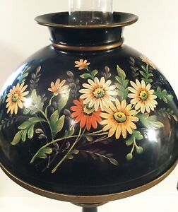 Vintage Toleware Lamp Hand Painted Daisies A Stunner W Hurricane Shade