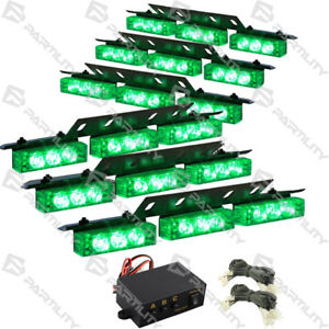 54 Green Led Emergency Vehicle Strobe Flash Lights Front Grill Car Truck Traffic