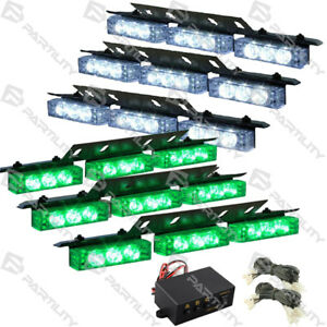 54 Green White Led Emergency Vehicle Strobe Flash Lights Front Grill Truck
