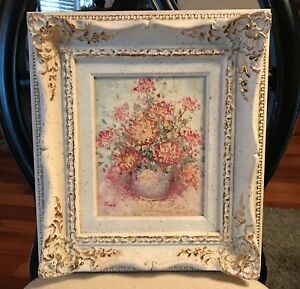Vintage White Ornate Picture Frame Shabby Chic Roses Oil Painting