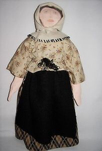 Primitive Handmade Ivory Fabri Cloth Dolls Country Shaker Style Anna Collectible