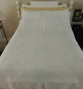 Antique Heavy White Linen Tablecloth Or Bed Coverlet 60 By 92 Blue Embroidery