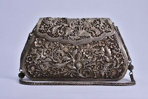 Antique Repousse Chinese 925 Silver Bird Butterfly Flower Purse Signed Handbag