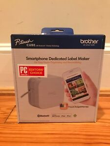 White Brother P touch Cube Smartphone Dedicated Label Maker New In Box Ptp300bt