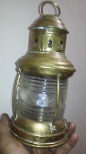 Vintage Perko Ship Oil Lantern Maritime Brass Nautical Stern Anchor Lamp W Clear