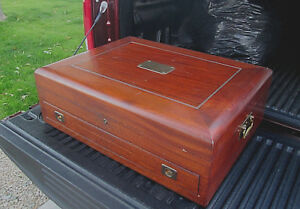 Huge Solid Mahogany Storage Chest Box Silverware Brass Tools Coins Stamps Old