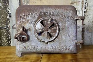 Antique Cast Iron Wood Stove Door Detroit Stove Works Chicago Gray Name Plate