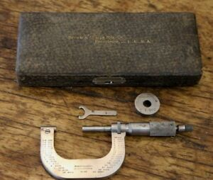 Vintage Brown Sharpe Micrometer No 48 Machinist Tool With Box Case Antique
