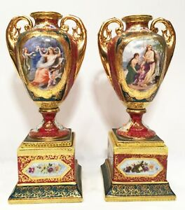 Pair Of Porcelain Urns Royal Vienna Hand Painted 8 25 Tall No Chips