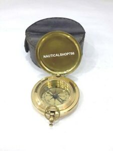 Maritime Nautical Brass Compass Push Button Pocket Compass With Case Gift