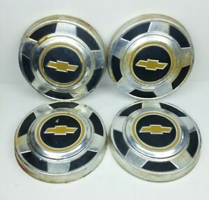 Chevrolet Hub Caps Vintage Chrome Black Logo Dog Dish Truck Lot Of 4 Set 10 3 4