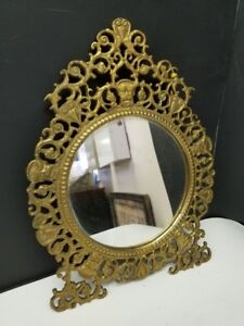 Victorian Gold Colored Ornate Metal Mirror