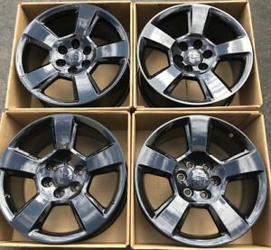 20 Chevy Silverado Tahoe Oem Factory Wheels Rims Gloss Black 20937969 2018 2017