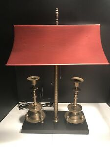 French Bouillotte Lamp With Red Metal Shade