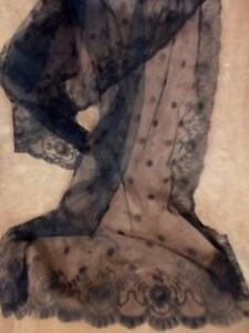 Antique Victorian Edwardian Black Chantilly Cotton Lace Mourning Scarf 22x64