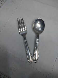 Ladyship Pattern By Stratford Plate Silverplate Baby Infant Fork And Spoon