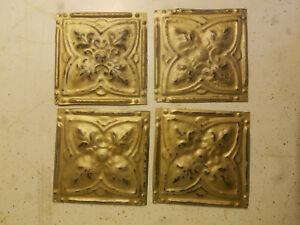 Reclaimed Tin Ceiling Tiles 4 6 X 6 Vintage Gold Distressed Craft Projects