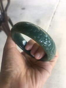Certified Authentic Hetian Nephrite Jade Carved Bangle Bracelet 60mm L6291