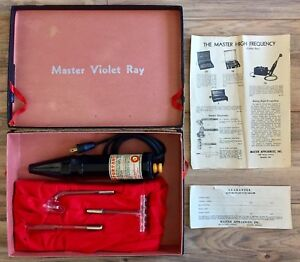 Master Violet Ray High Frequency Quack Medical Device Bakelite 3 Electrodes Work