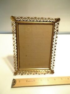 Vintage Gold Metal Decorative Ball Footed Picture Frame Fits 5x7