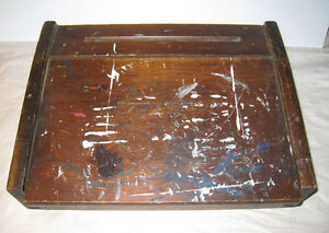 Old Wooden School Desk Top Folding Lid Paint Wear Book Pen Holder