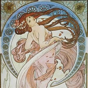 Art Nouveau Alphonse Mucha Reproduction Decorative Ceramic Tile 4 25 10