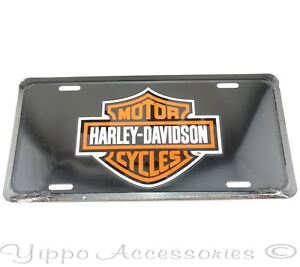 Harley Davidson Motorcycles Black Licensed Aluminum Metal License Plate Sign Tag