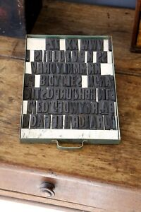 Vintage Letterpress Letters Magnetic Rubber Print Blocks Green Industrial Drawer