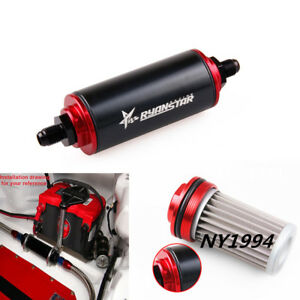 Black Universal Aluminum Racing Fuel Filter With An6 Fittings 100 Micron Element