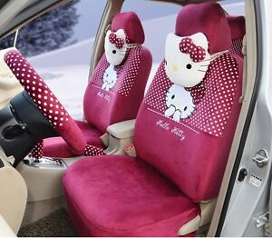 18 Piece Rosy Pink Polka Dot Hello Kitty Car Seat Covers