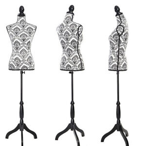 Female Mannequin Torso Dress Form Display W Tripod Stand Fiberglass Woman