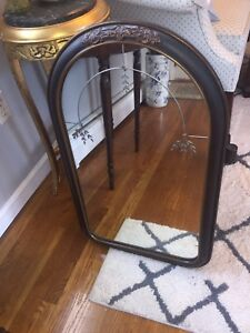 Antique Victorian Era Engraved Mirror 30 X18