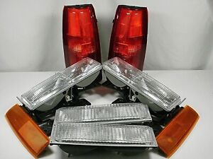 New Set Headlights Taillights Marker 1990 1993 Gmc Sierra C k 1500 2500 3500