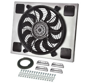 Derale 16820 High Out Single 14 Electric Rad Fan Shroud Kit 20w 16 3 8h 2 3 4d