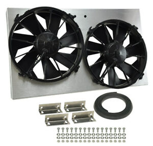 Derale 16825 High Out Dual 12 Electric Rad Fan shroud Kit 25 5 8 w 15 1 8 h 4 d