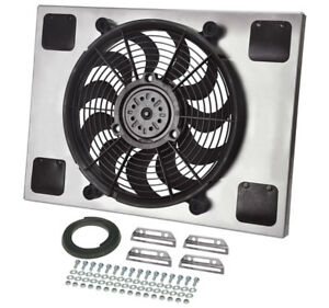 Derale 16827 High Output Single 14 Electric Rad Fan shroud Kit 23 7 16w 15 7 16h