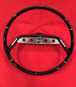1961 61 Chevy Impala Steering Wheel Complete Restored Orig 17 In Solid Black