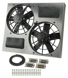 Derale 16830 High Output Dual 11 Electric Rad Fan shroud Kit 22 1 2w 19h 4 1 2d