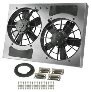 Derale 16833 High Output Dual 11 Electric Rad Fan shroud Kit 24w 17h 4 1 2d
