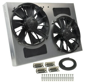 Derale 16837 High Output Dual 12 Electric Rad Fan shroud Kit 27w 18h 4d