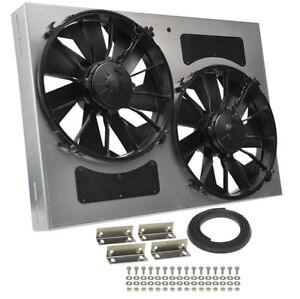 Derale 16842 High Output Dual 12 Electric Rad Fan shroud Kit 26w 18h 4d