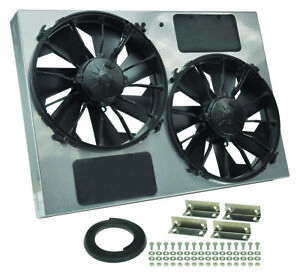 Derale 16927 Dual 12 Electric Rad Fan powdercoated Steel Shroud Kit 26w 18h 4d