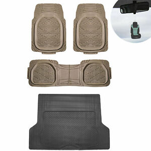 4pc Beige Floor Mats Black Cargo Set Tough Rubber Deep Dish Car W Gift
