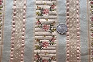 Antique C1900 French Ice Blue Pink Rose Silk Brocade Fabric L 58 X W 11 Dolls