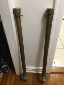 2 Vintage Brass Free Standing Crowd Control Stanchions